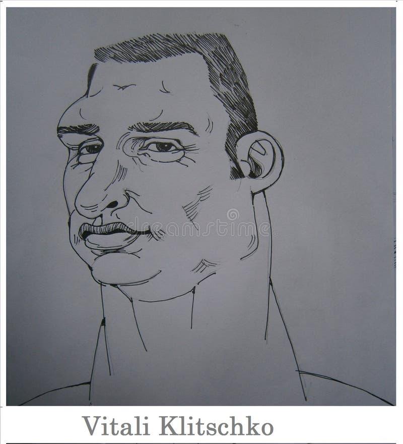 Vriendschappelijk die beeldverhaal, aan Vitali Klitschko wordt gericht royalty-vrije illustratie