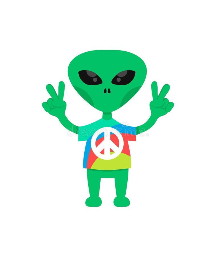 Vriendschappelijk hippie vreemd vlak beeldverhaal charater Kom in Vrede vector illustratie
