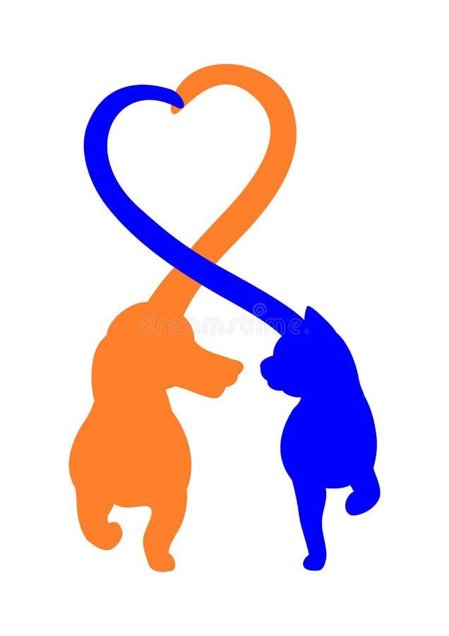 Vriendschappelijk kat en hondembleemontwerp royalty-vrije illustratie