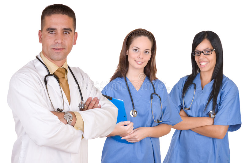 Vriendschappelijk medisch team - de arbeiders van de Gezondheidszorg stock afbeeldingen