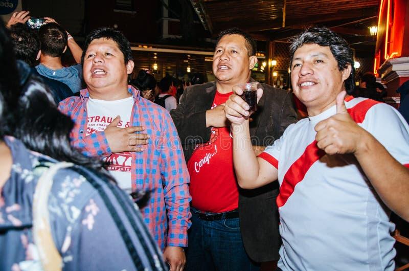 Vriendschappelijk spel Peru versus Schotland Lima - Peru 2018 stock foto