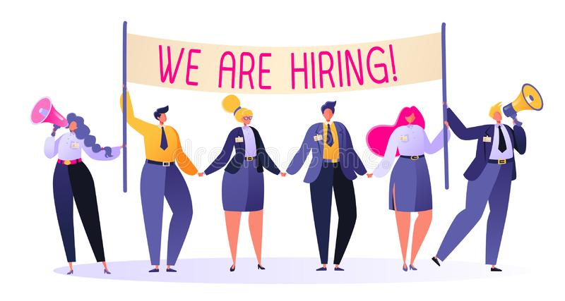 Vriendschappelijke bedrijfsmensen op zoek naar een nieuwe werknemer op de lege plaats Rekruteringsconcept, agentschapgesprek vector illustratie