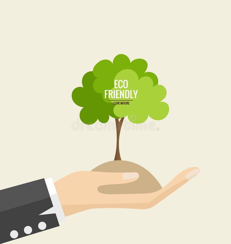 Vriendschappelijke Eco Ecologieconcept met hand en boomachtergrond Vec royalty-vrije illustratie