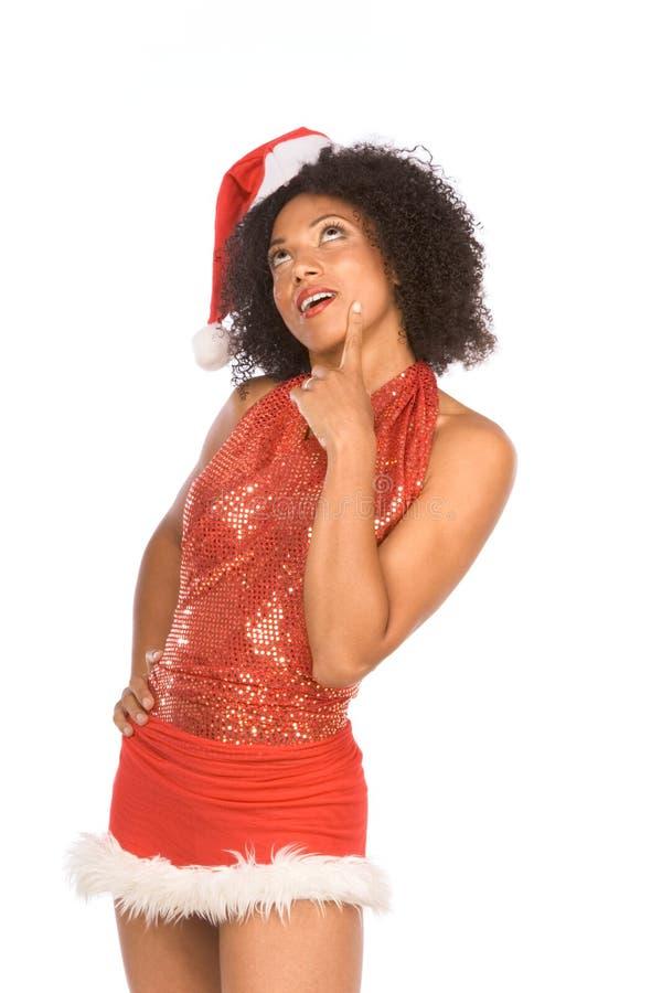 Vriendschappelijke etnische Mevr. de Kerstman die hoed draagt stock fotografie