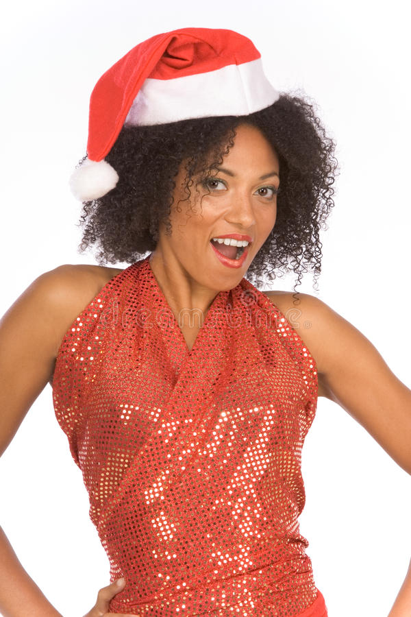 Vriendschappelijke etnische Mevr. de Kerstman die hoed draagt stock afbeeldingen