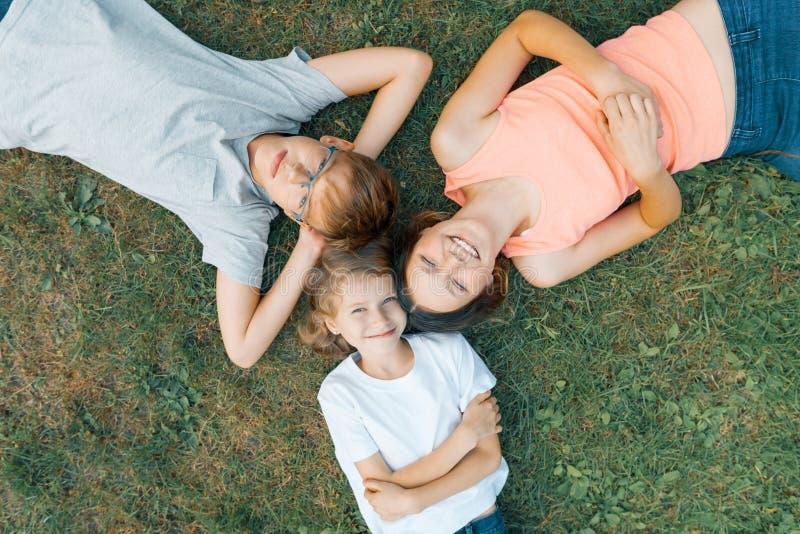 Vriendschappelijke familie van drie kinderen die pret op het groene gras, hoogste mening voor 3 kinderen hebben royalty-vrije stock fotografie