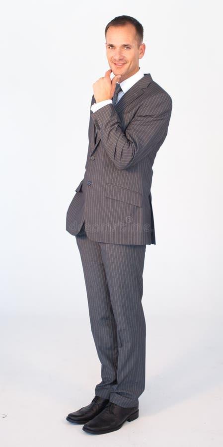 Vriendschappelijke geïsoleerded zakenman stock fotografie