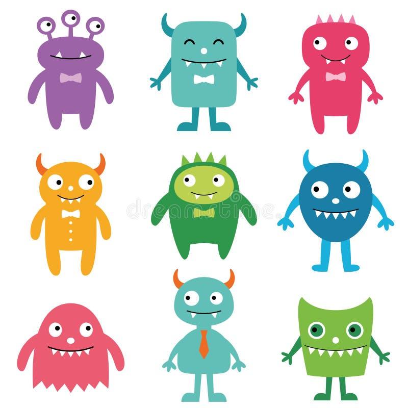 Vriendschappelijke geplaatste monsters royalty-vrije illustratie