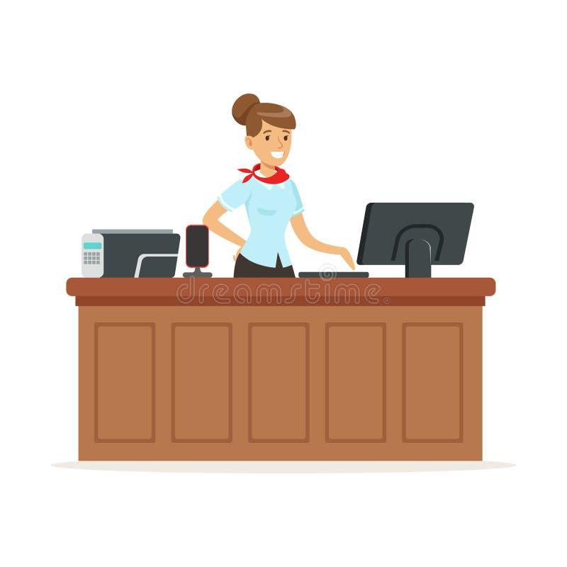 Vriendschappelijke jonge vrouw achter de ontvangst van een hotel, de vectorillustratie van de ontvangstdienst vector illustratie