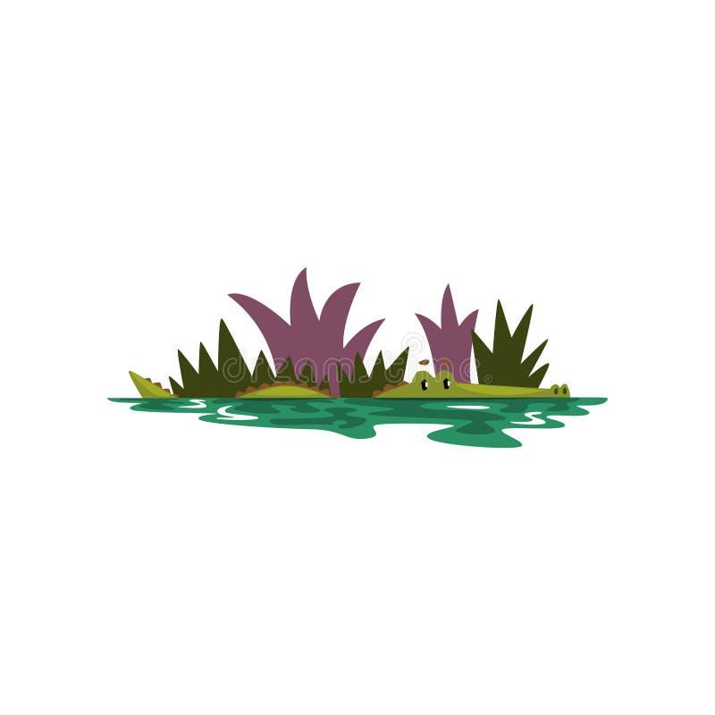 Vriendschappelijke krokodil die in een vijver, de grappige roofdier vectorillustratie van het beeldverhaalkarakter op een witte a vector illustratie