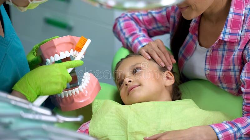 Vriendschappelijke pediatrische tandarts die aan kind verklaren hoe te tanden behoorlijk te borstelen stock foto