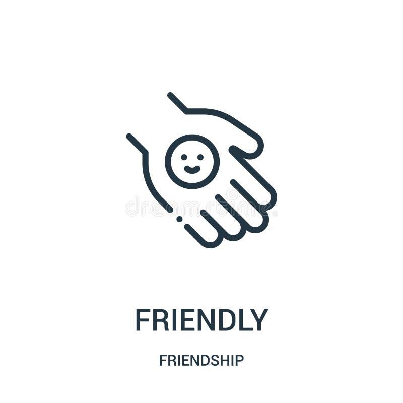vriendschappelijke pictogramvector van vriendschapsinzameling Dunne het pictogram vectorillustratie van het lijn vriendschappelij royalty-vrije illustratie