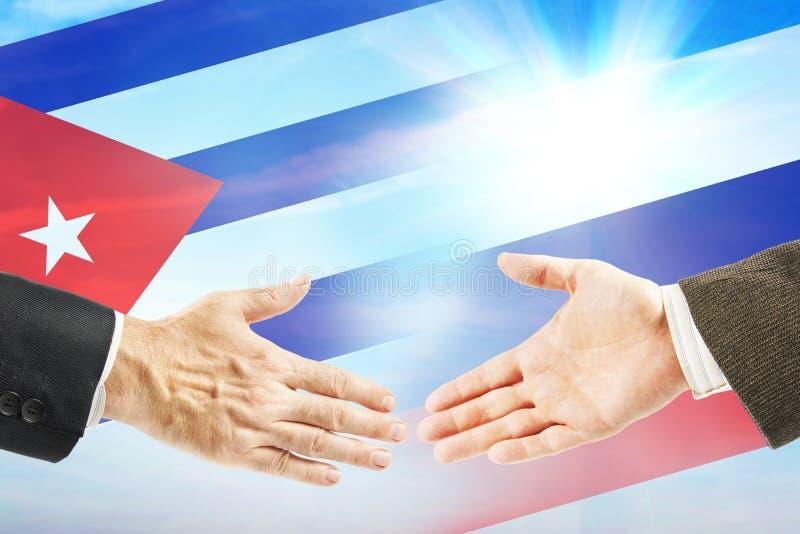 Vriendschappelijke relaties tussen Rusland en Cuba stock foto