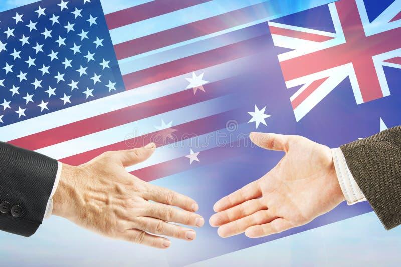 Vriendschappelijke relaties tussen Verenigde Staten en Australië stock fotografie