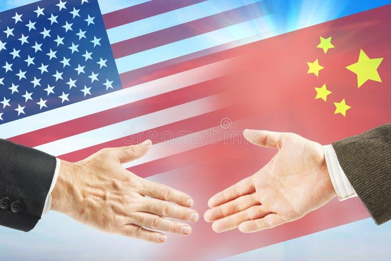Vriendschappelijke relaties tussen Verenigde Staten en China stock foto
