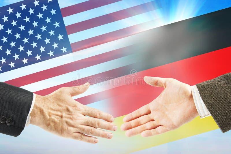 Vriendschappelijke relaties tussen Verenigde Staten en Duitsland royalty-vrije stock foto