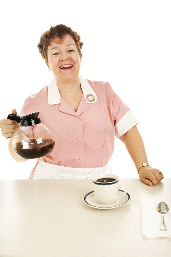 Vriendschappelijke Serveerster met de Pot van de Koffie stock fotografie