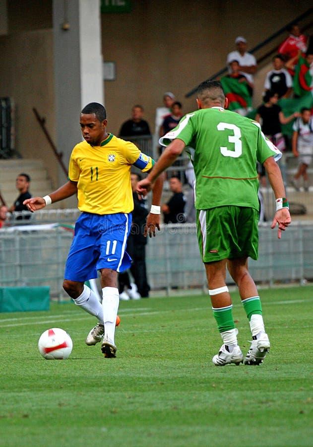 Vriendschappelijke voetbalgelijke Brazilië versus Algerije stock fotografie