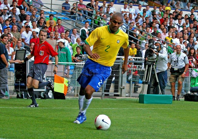 Vriendschappelijke voetbalgelijke Brazilië versus Algerije stock foto