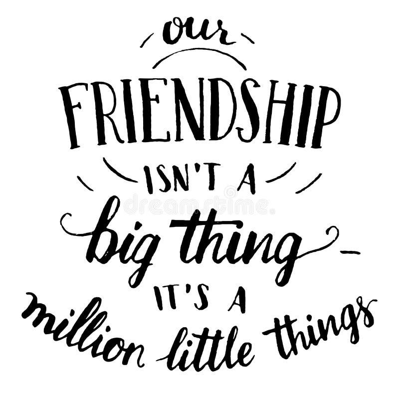 Vriendschaps hand-van letters voorziend en kalligrafie citaat stock illustratie