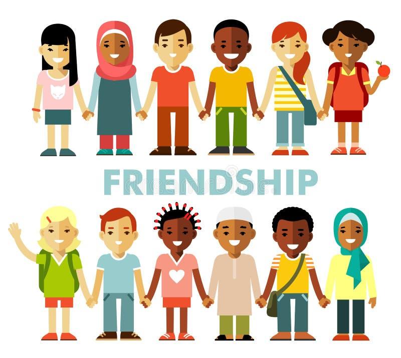 Vriendschapsconcept met verschillende multiculturele gelukkige kinderen in vlakke stijl royalty-vrije illustratie