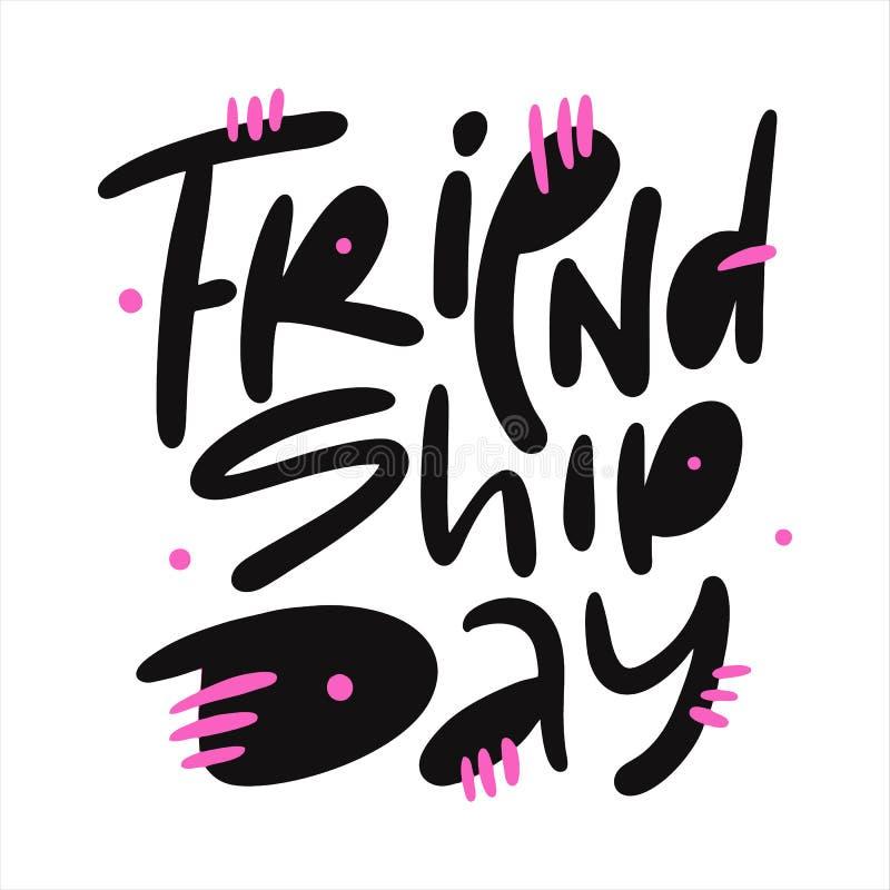 Vriendschapsdag hand het getrokken vector van letters voorzien Ge?soleerdj op witte achtergrond stock illustratie