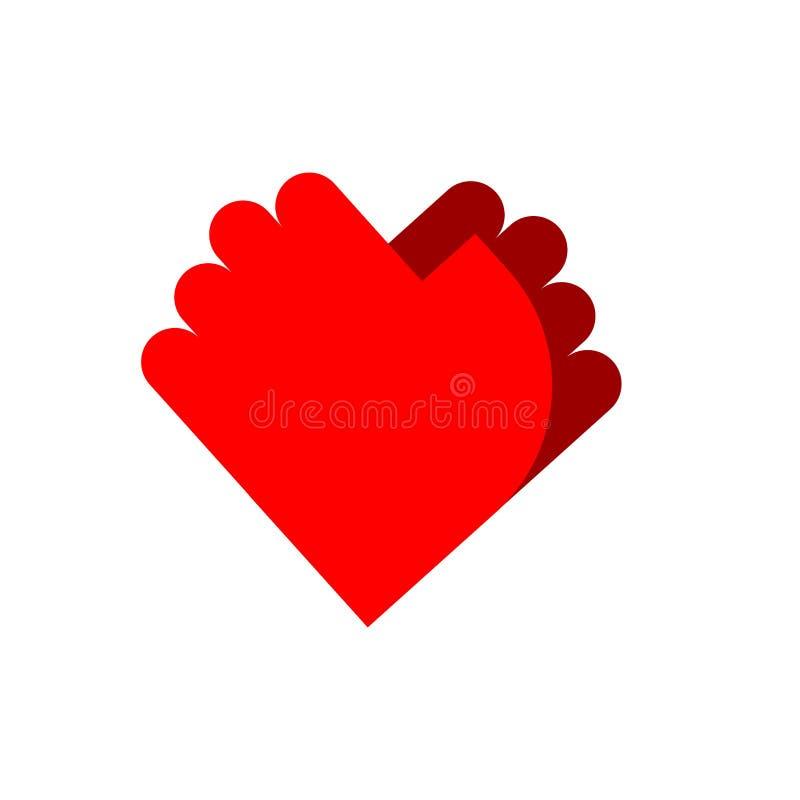 Vriendschapsembleem Palmembleem De liefde van het twee handensymbool royalty-vrije illustratie
