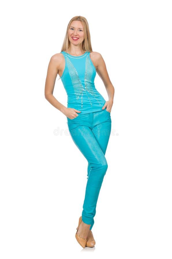Vrij blonde vrouw in blauw broek en overhemd royalty-vrije stock afbeelding
