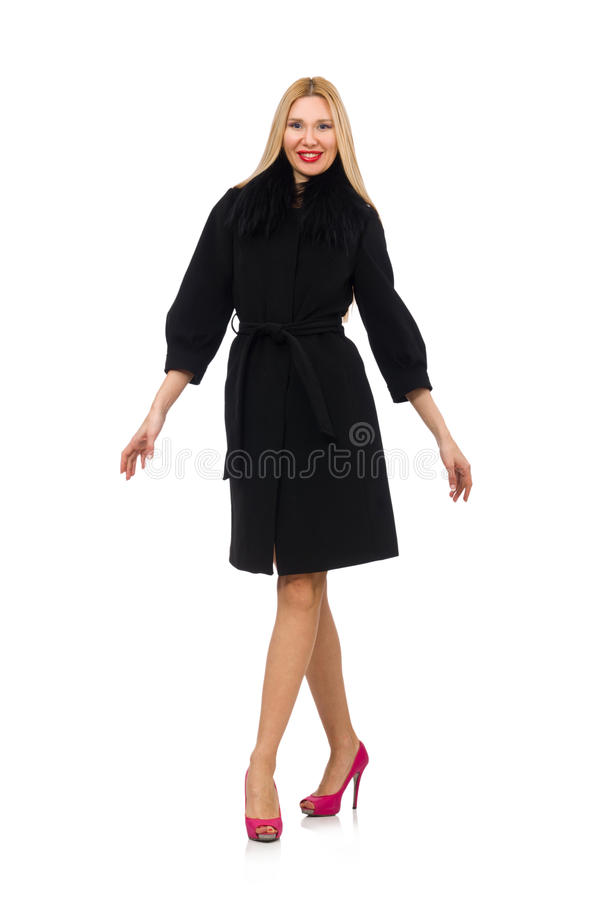 Vrij blonde vrouw in zwarte die laag op wit wordt geïsoleerd stock fotografie