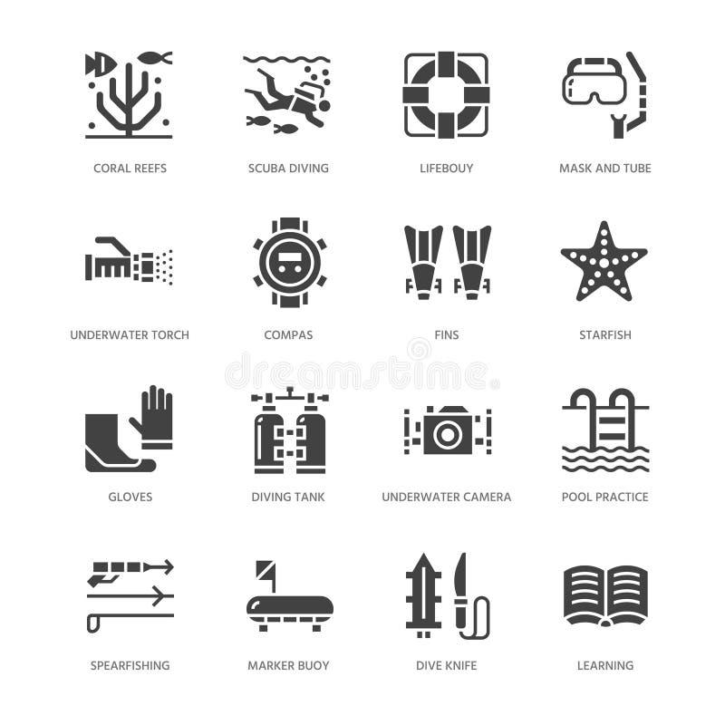 Vrij duiken, snorkelende vlakke glyphpictogrammen Spearfishingsmateriaal - de maskerbuis, vinnen, zwemt kostuum, duiker De sport  stock illustratie
