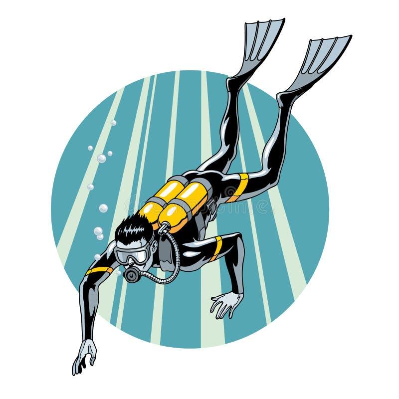 Vrij duiken vectorillustratie Zwemmende duiker in wetsuit, masker, vinnen en materiaal om op rug te ademen vector illustratie