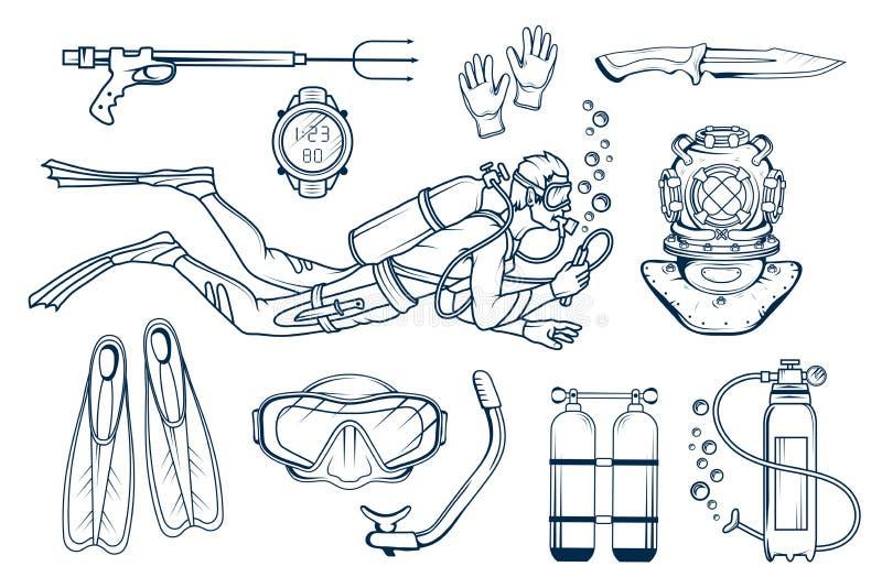Vrij duikenreeks op wit Duiker met scuba-uitrusting Vrij duiken Vectorduikerkarakter Duiker Helmet stock illustratie