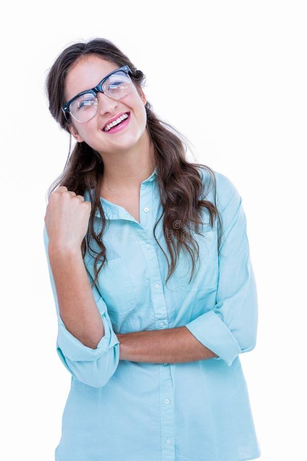 Vrij geeky hipster met dient haar haar in weg kijkend royalty-vrije stock afbeeldingen