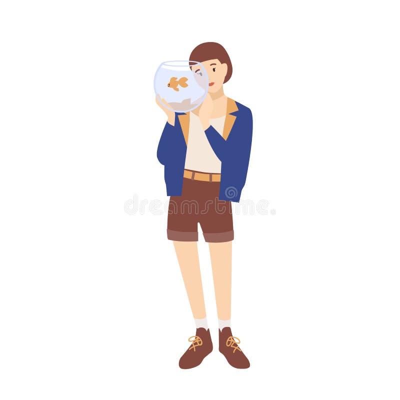 Vrij gelukkig jong vrouw of meisjesholdingsaquarium met haar vissen Aanbiddelijk vrouwelijk beeldverhaalkarakter met huisdier royalty-vrije illustratie
