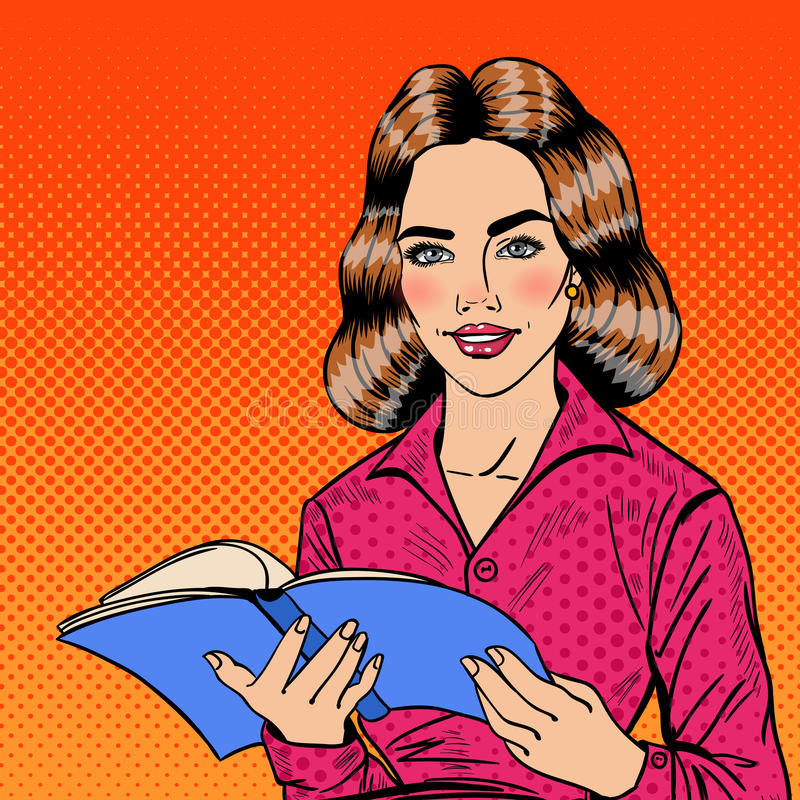 Vrij Glimlachend Pop Art Young Woman Reading Book vector illustratie