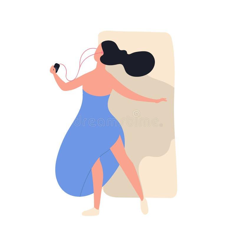 Vrij grappig meisje die in kleding aan muziek en het dansen luisteren Leuke jonge vrouw met audiospeler en oortelefoons die van h vector illustratie