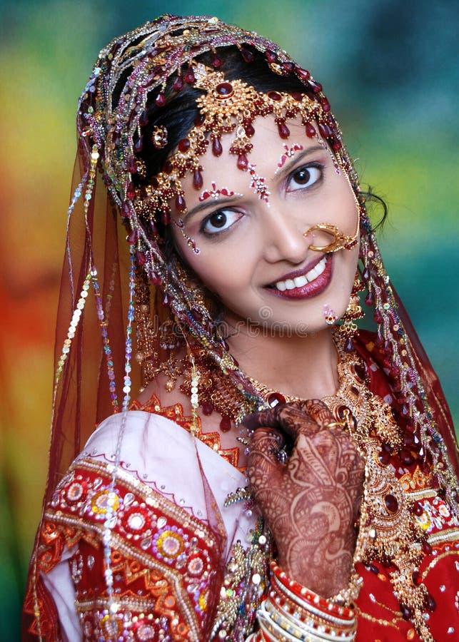Vrij Indische Bruid. stock foto's