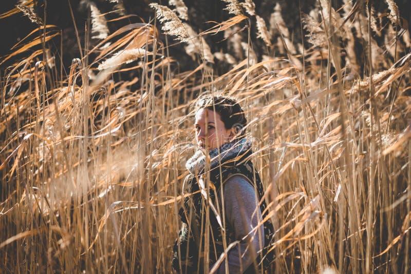Vrij jong meisje in de wildernis stock afbeeldingen