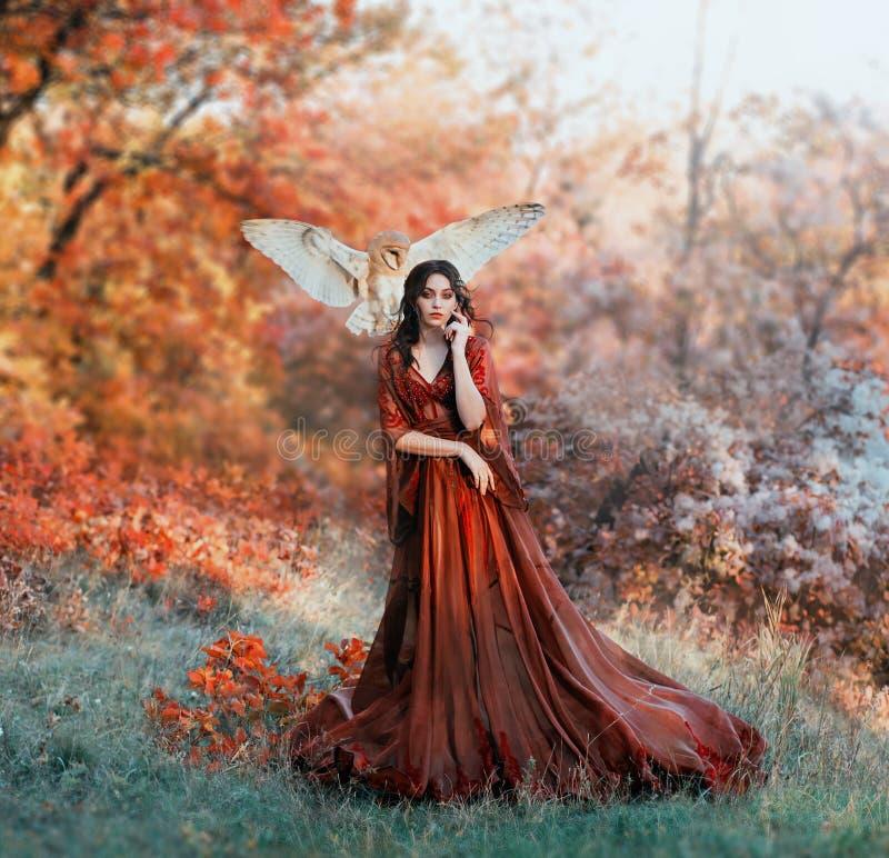 Vrij jong meisje met zwart haar in koud bos, oranje gebladerte van bomen royalty-vrije stock fotografie