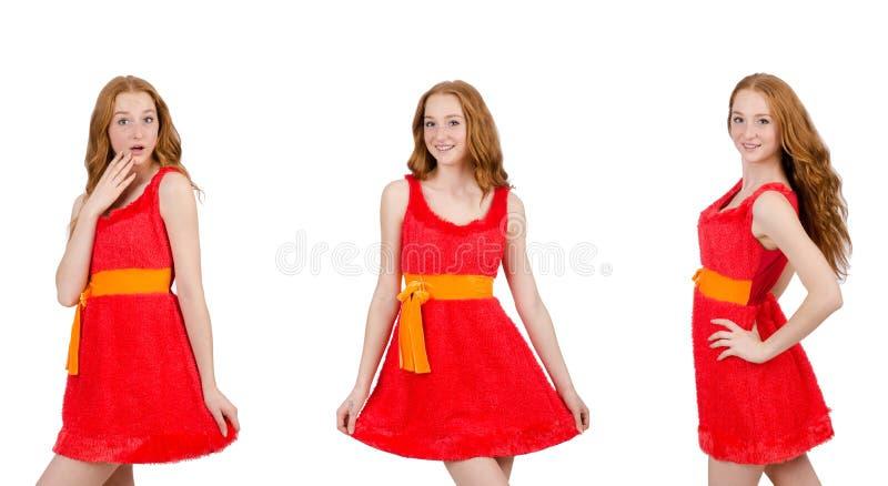 Vrij jong meisje in rode kleding dat op wit wordt ge?soleerdr royalty-vrije stock foto