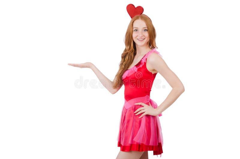Vrij jong model in geïsoleerd mini roze kleding royalty-vrije stock afbeeldingen