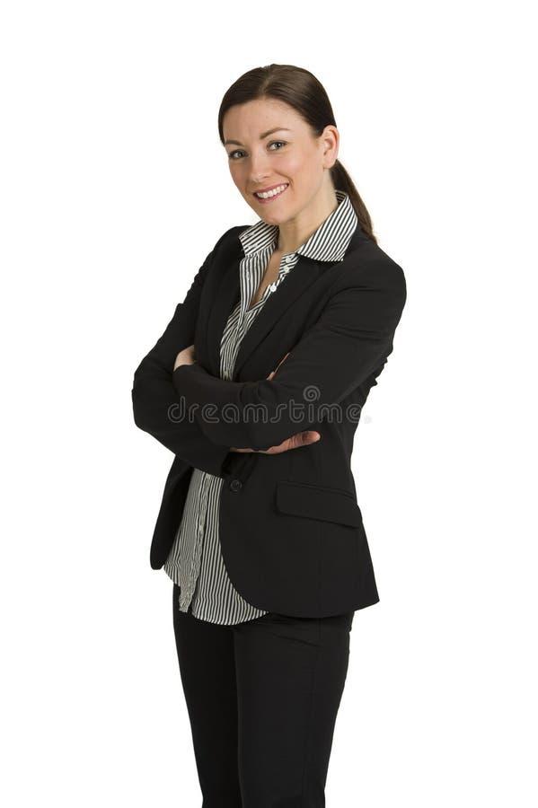 Vrij jonge bedrijfsvrouw die op wit lacht royalty-vrije stock foto