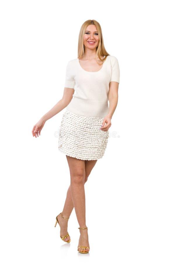 Vrij jonge blonde die vrouw op wit wordt geïsoleerd stock afbeeldingen