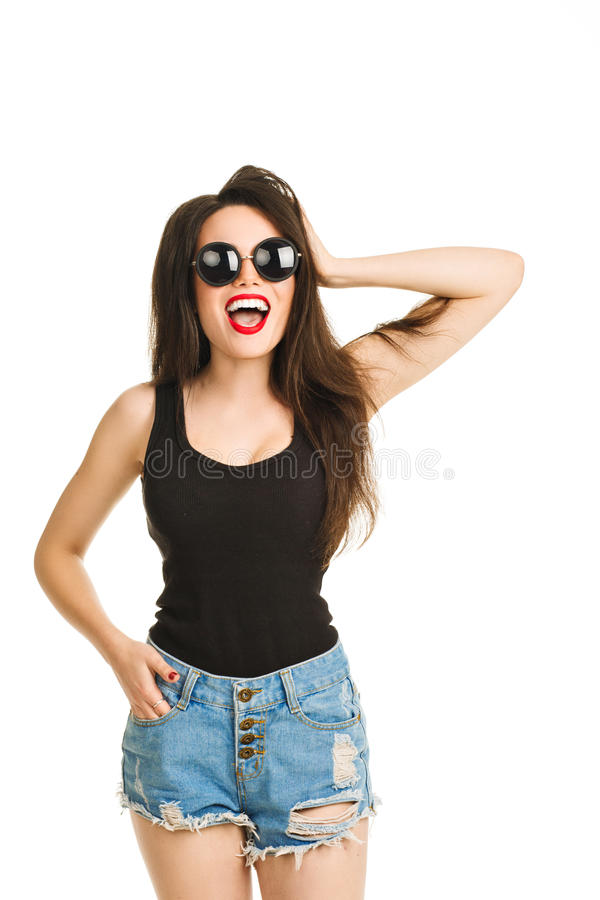 Vrij jonge sexy manier sensuele vrouw die stellen royalty-vrije stock afbeelding