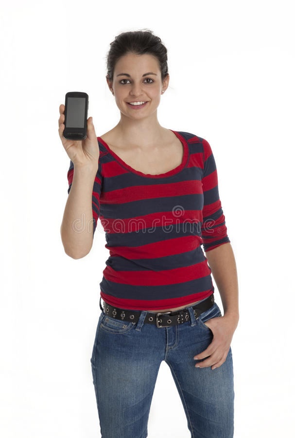 Vrij Jonge Vrouw die de Telefoon van de Cel toont royalty-vrije stock fotografie