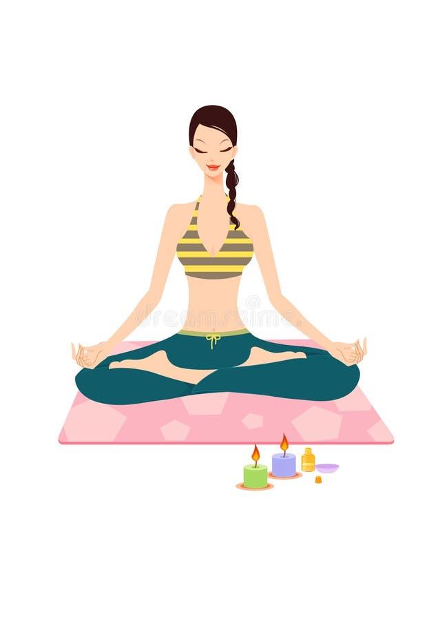 Vrij jonge vrouw die yoga doet royalty-vrije illustratie