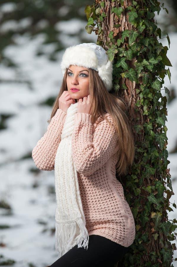 Vrij jonge vrouw in een schot van de de wintermanier royalty-vrije stock afbeeldingen