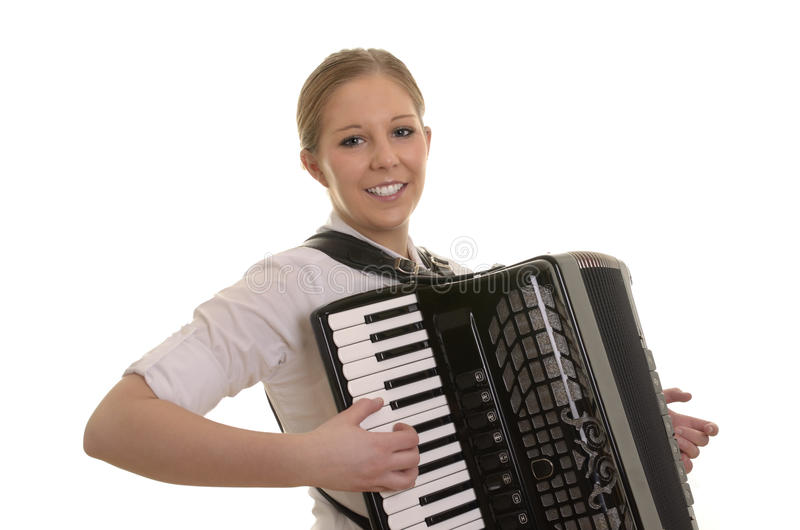 Vrij jonge vrouw het spelen harmonika stock fotografie