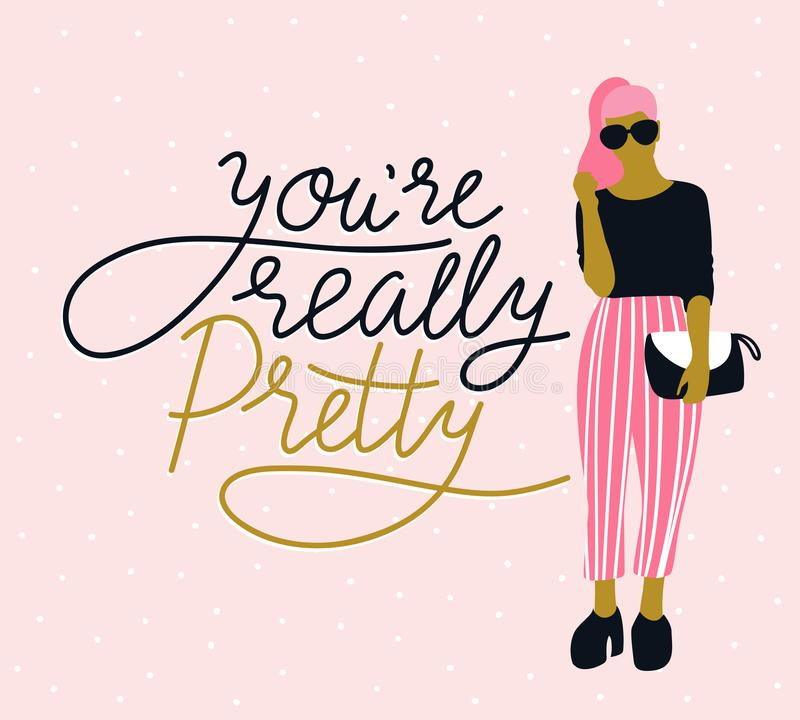 Vrij jonge vrouw in zonnebril met het met de hand geschreven van letters voorzien ` u ` aangaande werkelijk mooie `, roze stipach vector illustratie