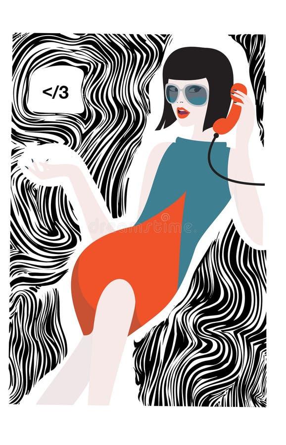 Vrij jonge vrouwenbespreking op de retro telefoon royalty-vrije illustratie